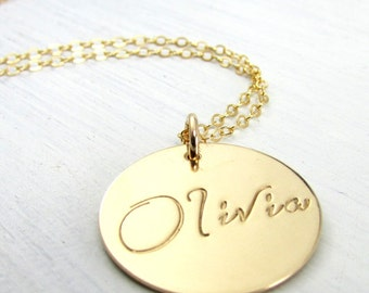 Gold Name Necklace | Gold Script Font Name Charm Necklace | Name Necklace | Hand Stamped Personalized Custom Charm | OLIVIA ERiaDesigns