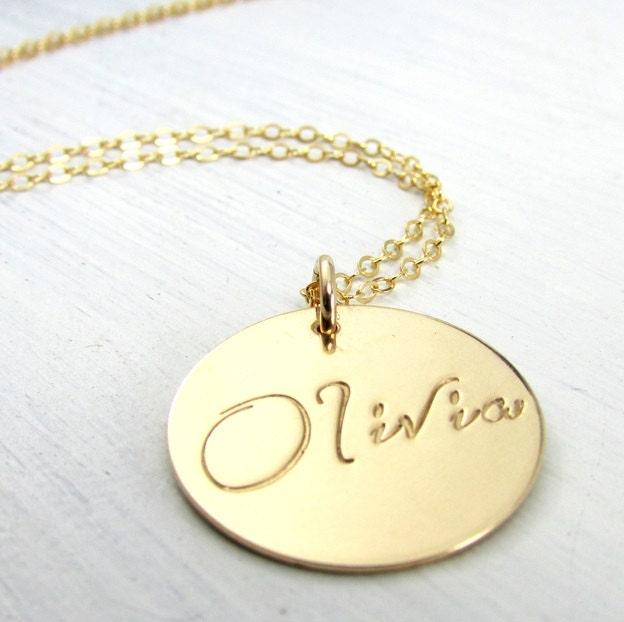 Gold name necklace script font charm