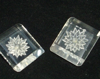 pair of vintage lucite buttons