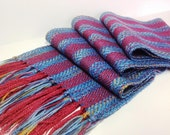 Scarf - Handwoven Merino Wool, Silk, Variegated Stripes, Scarves for Women, Scarves for Men by Frederick Avenue