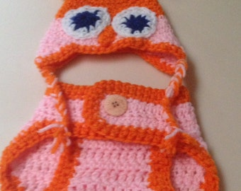 Newborn Crochet Baby  Orange and Pink Owl Hat and Diaper Cover-CLEARANCE