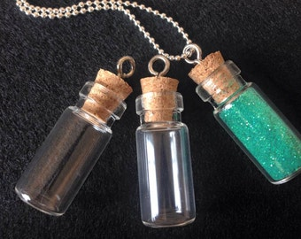 4 Glass Vials Tiny Bottle Charms 27mm Pendants Eye Screw Miniature