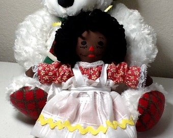 Handmade Raggedy Ann Doll and Holiday Bear -10 inches -  African Amer or Hispanic doll - Ready to Ship