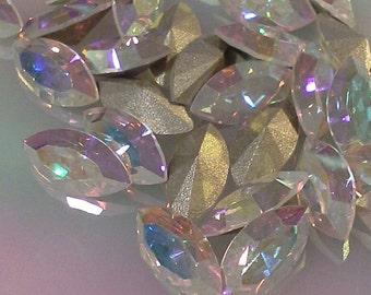 6 10x5mm Crystal AB Machine Cut Navettes Swarovski Article 4200 Crystal ab Swarovski Crystal AB Navettes Swarovski 10x5mm Crystal AB