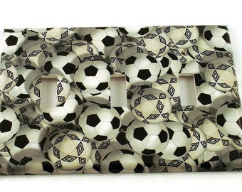 Triple Light Switch Cover Wall Decor Soccer  Switch Plate in Goal  (218T)