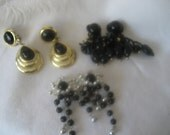 Lot of 3 Pair VINTAGE Black Costume Jewelry Dangle Earrings