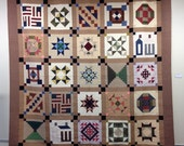 Civil War Reproduction Sampler Quilt - 100 x 100 - King Size Quilt - traditional