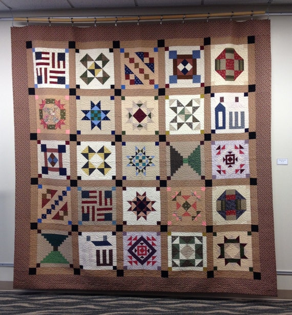 Civil War Reproduction Sampler Quilt 100 X 100 King Size