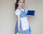 kids BELLE Provincial dress costume apron dress cute princess every day practical dress with white blouse set 7/8