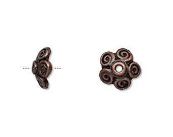 """8 Flower Bead caps 10x3mm in Antiqued copper-finished """"pewter"""", fits 10-12mm bead."""