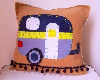 Vintage Style Trailer Pillow