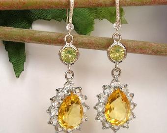 Yellow Teardrop Crystal  Rhinestones Zircon Earrings  Yellow  Earrings Silver Wedding Earrings.