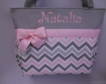 CHEVRON  in Zoom Zoom ... Pink Gray   .. .. Tote  ...   Diaper Bag ... Monogrammed  FReE