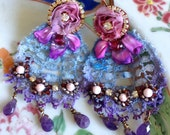 Lilygrace Violet Earrings with Silk Ribbon Embroidery, Vintage Lace and Rose Montee Rhinestones