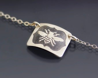 Curved Framed Honey Bee Necklace - Etched and Oxidized Sterling Silver - Hand Drawn Nature Jewelry
