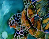 Magical Turtle 3 8x10 art print  from Kauai Hawaii green blue yellow teal