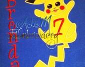 Pokemon Embroidered Personalized Birthday Shirt