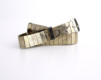 Beautiful Etched Gold Metal Belt | Vintage 1970s Metal Belt | Floral Print Belt | XS to S