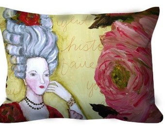 Decorative throw pillow Marie Antoinette roses French