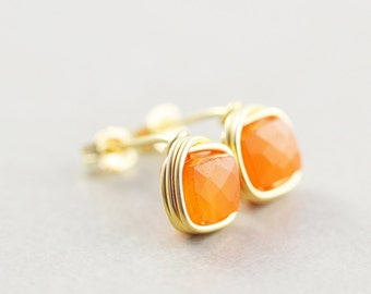 Carnelian Studs, Orange Posts, Tangerine Studs, Square Stone Studs
