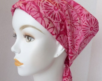 English Traditions Batik Hand Dyed Pink Floral Cancer Hat Chemo Scarf Head Wrap Alopecia Turban