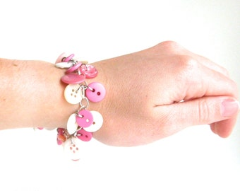 Button Bracelet Pink and White Silver Chain Valentines Day