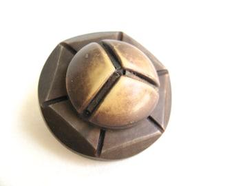 Brooch Pin Vintage Button Beige Linear Design