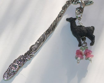 LLAMA Bookmark -  Black with Pink Trim - Alpaca