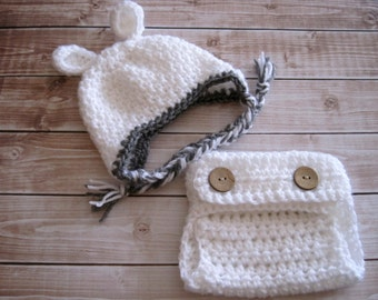 Crochet Baby Hat, Baby Lamb Hat, Baby Boy Hat, Baby Girl Hat, Baby Diaper Cover, Newborn Hat, Infant Hat, Baby Easter Hat, Baby Animal Hat