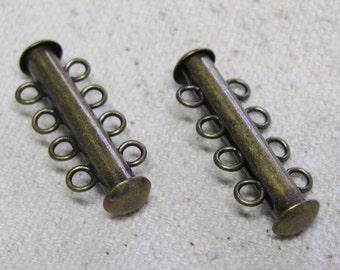 Slide Clasp 4 Strand Antique Bronze Four Strand Antique Brass Slide Tube Clasps 26mm x 6mm 2 clasps F301A