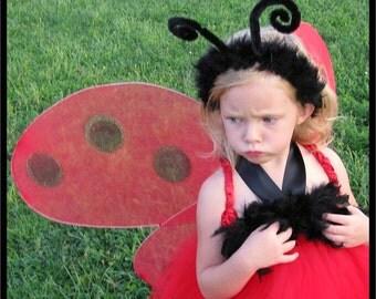 Ladybug Headband, Black Ladybug Costume Headband, Fuzzy Ladybug Headband, Girl's Ladybug Headband, Halloween Costume, Lady Bug Head Band