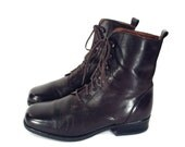 90's vintage DARK BROWN // leather lace up boots // ankle oxford boots // by Santana // made in Canada // women's 6.5 ~ 6 1/2