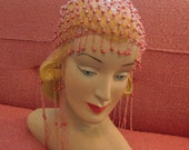 Vintage Reproduction 1920s Beaded Flapper Skull Cap