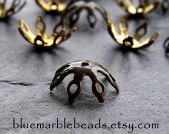Enamel Bead Caps-Enamel Bead-Filigree Bead Cap-Enamel Findings-Vintage Finding-Vintage Taupe Bead Caps-20 Pieces