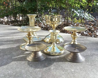 7 Vintage Brass Candle Holders Brass Candlesticks Rustic Lighting Wedding Decorations Table Decor French Country Farmhouse Thanksgiving