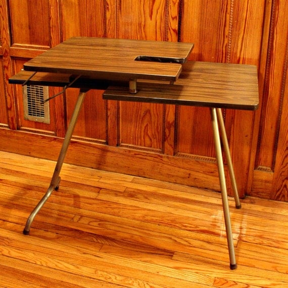 Vintage sewing table - sewing machine table - wood - folding - Singer ...