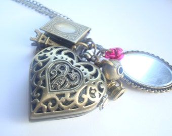 Beauty and The Beast Pocket Watch Book Locket Eiffel Tower Antique Gold Mirror Necklace