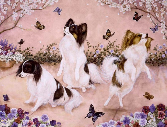 "PAPILLON DOGS DANCING  on One 16 inch square Fabric Panel  for Quilting and Sewing. Actual picture is 8"" x 11""."