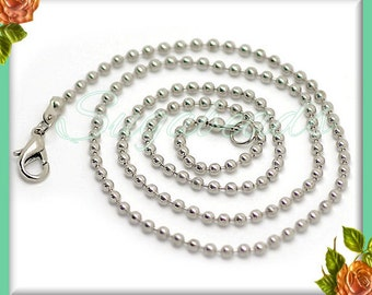 4 Silver Plated Finished Ball Chain Necklaces 20 inch w Lobster Clasp 2.4mm Diameter SPBC