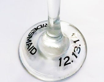 SINGLE DIY Wine Glass Base Additions- Date OR Title