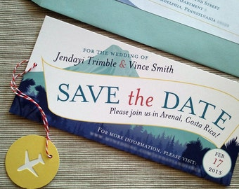 Destination Wedding Save the Date Airplane Message Banner Tropical Volcano Mountains - DESIGN FEE