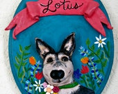 Dog with Flora and Fauna, Custom Pets on Plaques®, Paper Mache Dog, Dog Memorial, Dog Art, Paper Mache