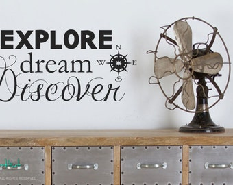 Explore Dream Discover Travel Vacation Decor • Decor for the Traveler • Vinyl Word Art Decals Stickers Lettering Quotes Text 1741