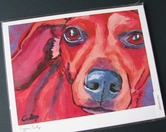 Red DACHSHUND Dog 8x10 Signed Art Print from Painting by Lynn Culp