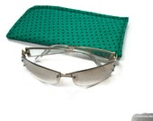 Green with Navy Pin Dots Protective Padded Pouch Eyeglass or Sunglass Case Choose your Size