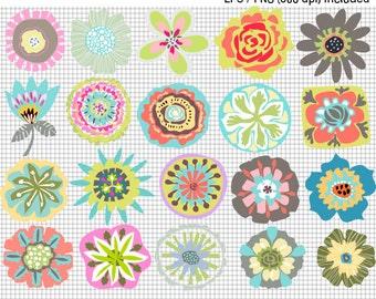 Flowers Clip Art PNG EPS Vector 20 Boho Surface Pattern Supplies Instant Download Karen Fields