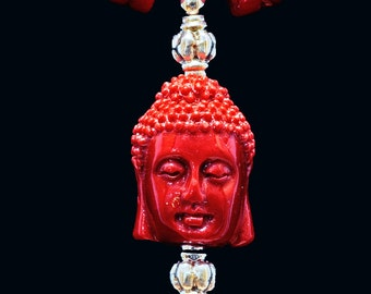 Buddha, Sterling and Bright Red Coral