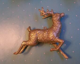 gold glitter deer ornament