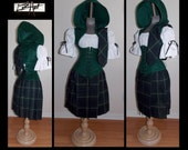"Half Price Sale Thru Nov 14th - 26"" Waist Scottish Plaid Green Navy and Black Skirt and Scarf ONLY"