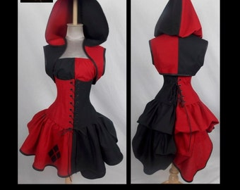 Harley Quin Joker Villain Style Bustle Costume by LoriAnn Costume Designs - Custom Size